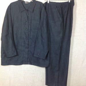 2 piece linen tunic pants denim look
